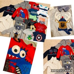 A set of 16 SHIRTS/SWEATERS toddler Boy 18mo-2T